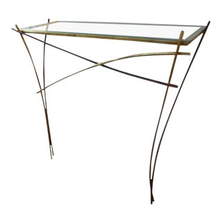 Italian Gio Ponti Inspired Gilt Iron Modernist Console Table For Sale