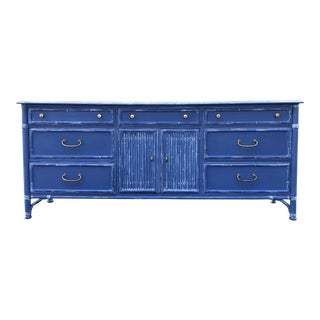 1970's Vintage Drexel Heritage Malay Faux Bamboo Dresser For Sale