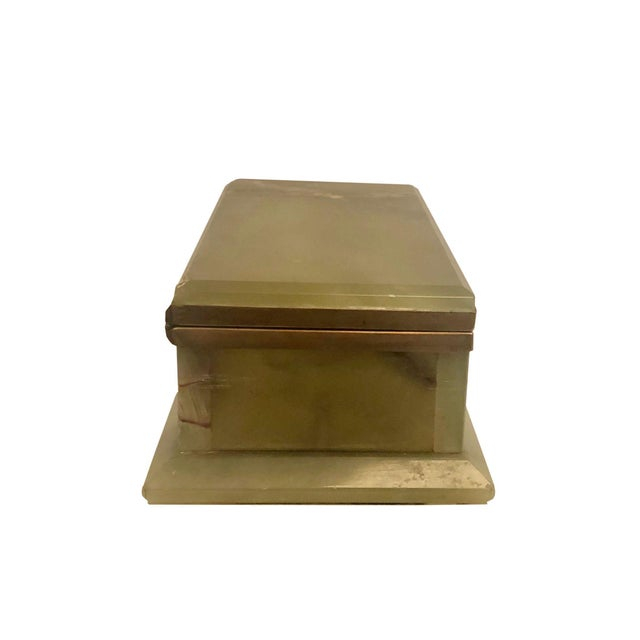 Dark Green 1940s Large Onyx and Bronze Table Box For Sale - Image 8 of 12
