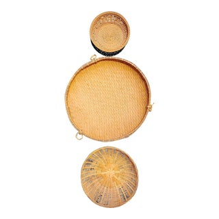 Mid 20th Century Vintage Boho Chic Rattan Basket Trio Collage - Set of 3 For Sale