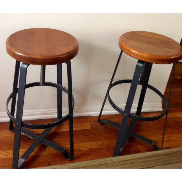 West Elm Adjustable Bar Stools - A Pair - Image 2 of 7