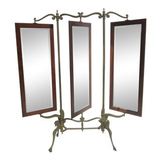 Gothic Iron & Oak Three Panel Standing Dressing Mirror For Sale