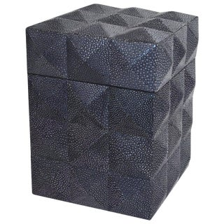 Pyramid Black Shagreen Box by Fabio Ltd For Sale