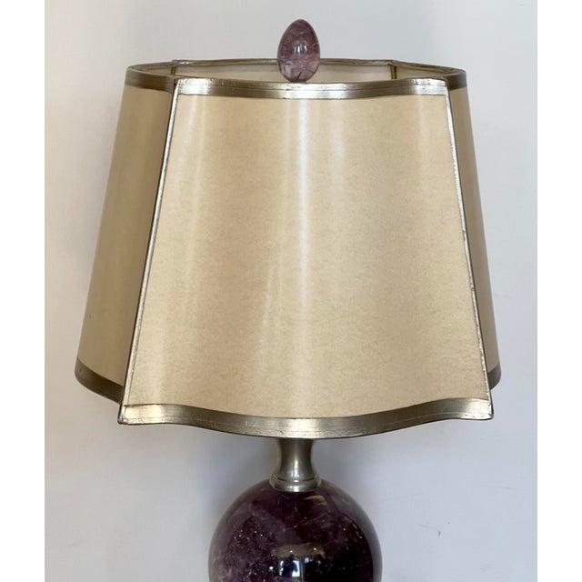 Modern Amethyst Orb Table Lamp w Custom Shade