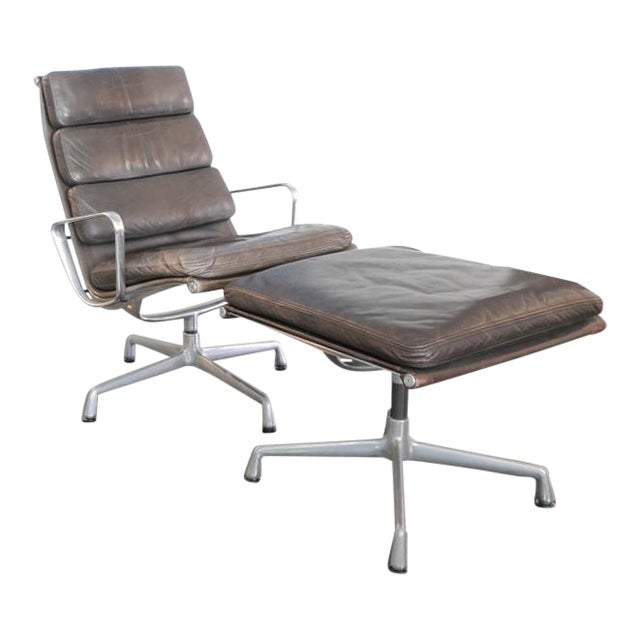 Eames Aluminum Group Lounge Chair & Ottoman For Sale