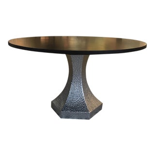 Custom Dark Stained Black Walnut Top Dining Table and Hammered Zinc Base Showroom Sample