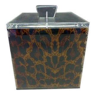 1990s Spisani Italy Lucite Leopard Box / Ice Bucket For Sale