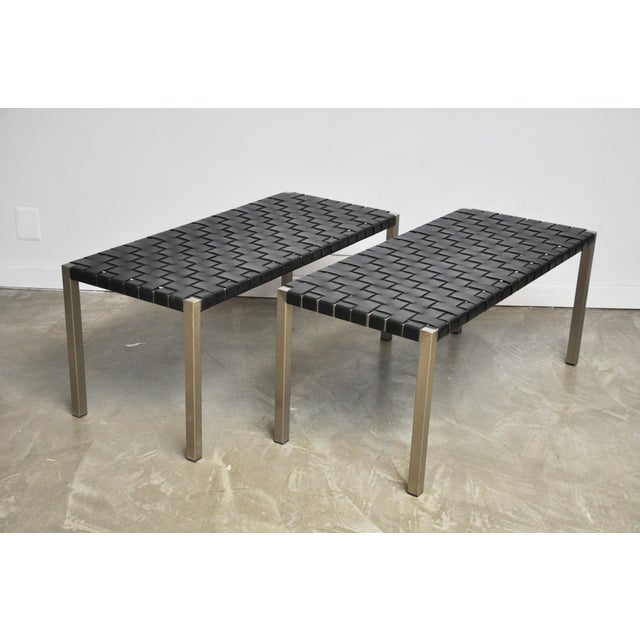 Pair of Steel and Leather Strap Benches For Sale - Image 9 of 10