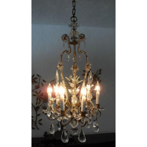 19th Century Maison Bagues Rock Crystal Chandelier For Sale - Image 4 of 10