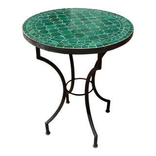 Moroccan Mosaic Emerald Green Tiles Bistro Table For Sale