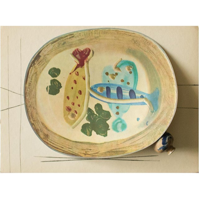 Cubism 1955 Pablo Picasso Ceramic Plate With Fish and Olives, Original Period Swiss Lithograph For Sale - Image 3 of 6