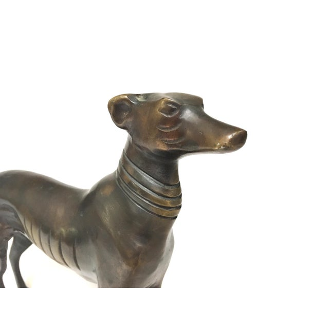 Metal Vintage Mid Century Heavy Bronze Greyhound Dog Figurines- A Pair For Sale - Image 7 of 12