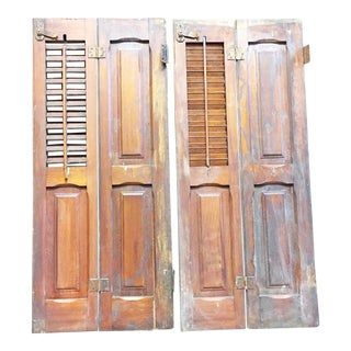 Vintage Cottage Chic Brown Wood Shutters - A Pair