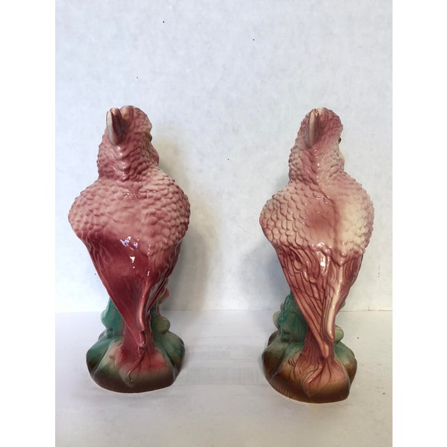 Cottage Vintage Pink Parrot Figures - A Pair For Sale - Image 3 of 6