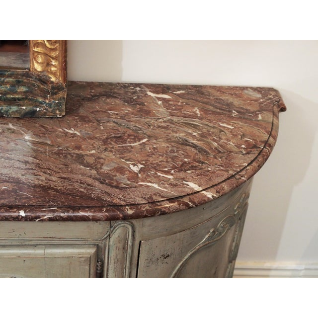 Gray Louis XV Style Marble Top Buffet For Sale - Image 8 of 10