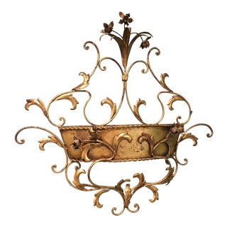 Vintage Italian Style Tole Wall Pocket/ Planter For Sale