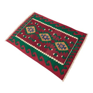 Vintage Red Colour Turkish Oushak Kilim- 2′9″ × 3′11″