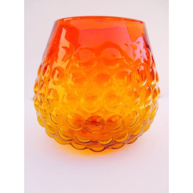 Blenko Bubble Glass Amberina Sandblasted Sig Vase - Image 2 of 11