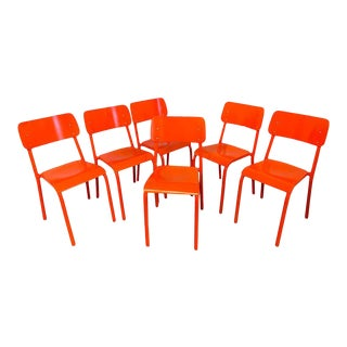 Declercq Mobilier Modern Ml45 Neon Red Chairs - Set of 6 For Sale
