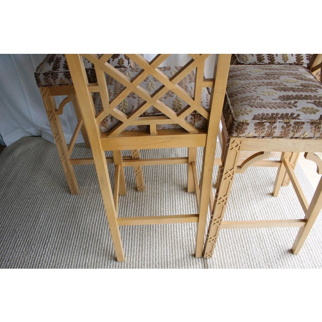 Brown Late 20th Century Chinese Chippendale Chinoiserie Fretwork Bar Stool For Sale - Image 8 of 13