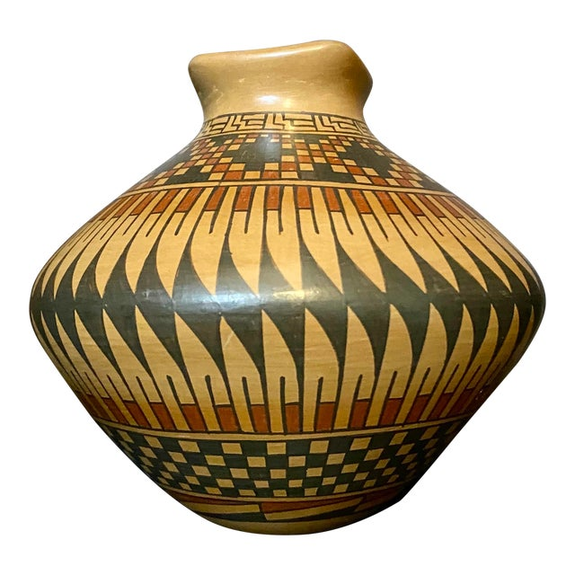 Vintage Native American Style Hand Painted & Crafted Maria Mora Pottery Vase For Sale