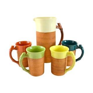 Last Call! Bamboo Handle Pitcher & Four Mugs For Sale