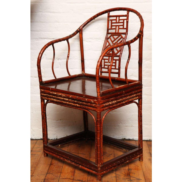 Single 19th Century Chinese Horseshoe-Back Bamboo Armchair with Elm Base For Sale - Image 4 of 12