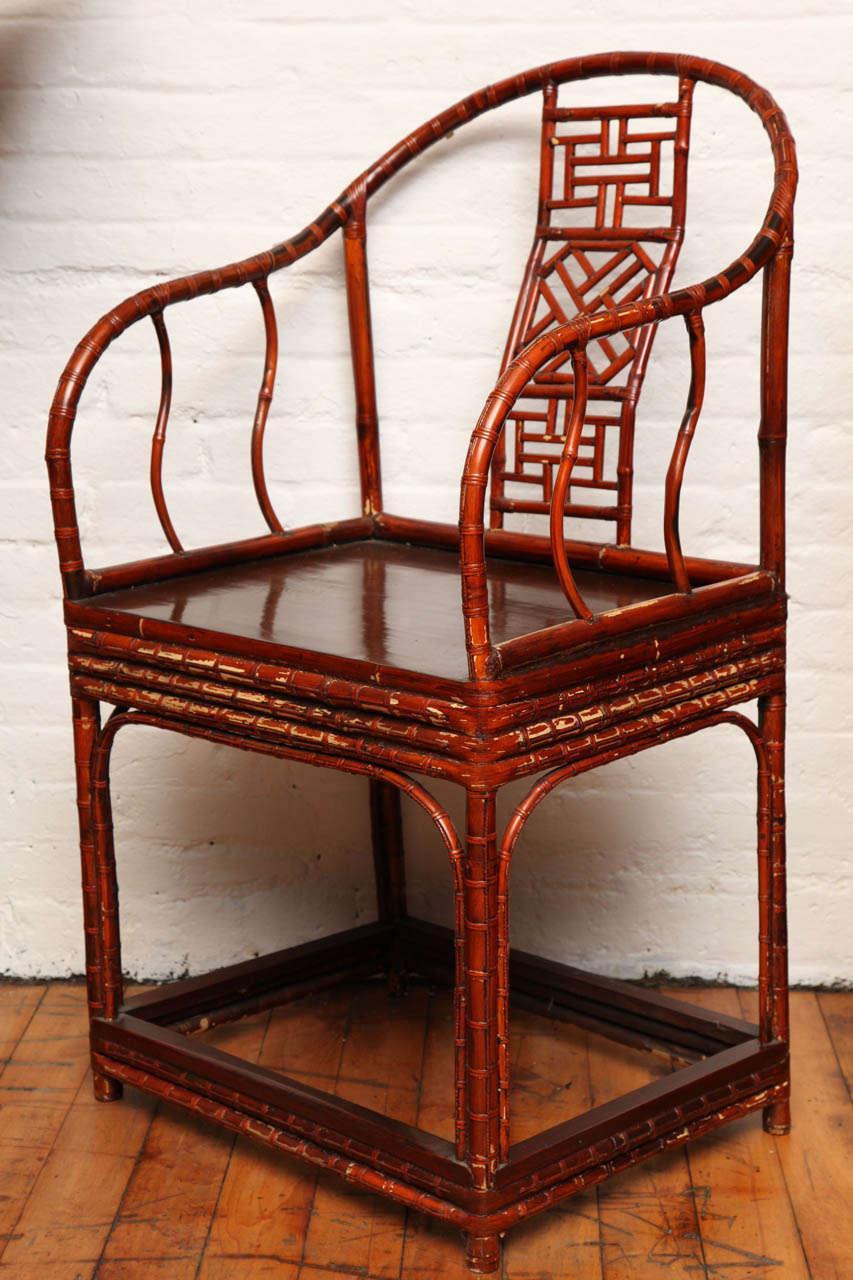Single 19th Century Chinese Horseshoe Back Bamboo Armchair With Elm Base    Image 4 Of
