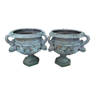 20th Century Traditional Bronze Urns Adorned W Dolphins & Angels - a Pair For Sale