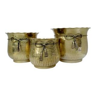 Brass Cachepots, Set of 3
