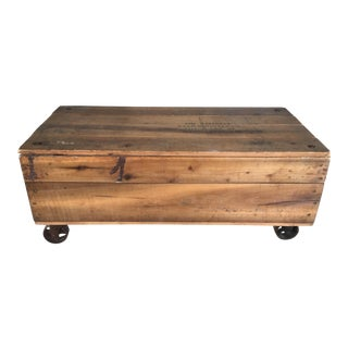 Vintage Industrial Style Distressed Pine Chest Coffee Table For Sale