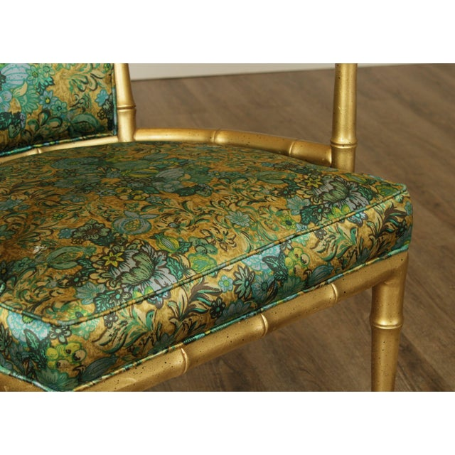 Hollywood Regency Faux Bamboo Mid Century Gilt Wood Barrel Back Armchairs - a Pair For Sale - Image 10 of 13