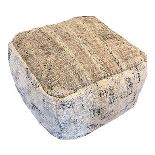 Neutral Jute and Kilim Pouf For Sale