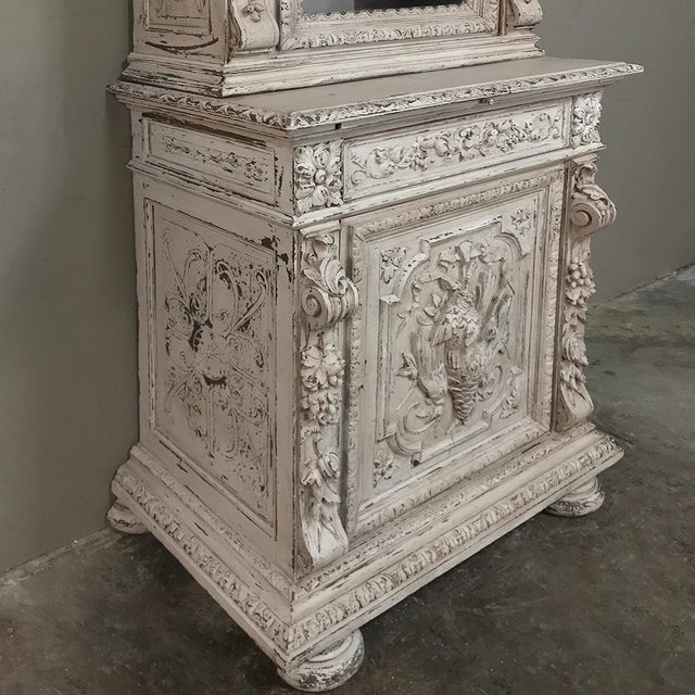 Gray 19th Century French Renaissance Painted Hunt Bookcase Buffet a Deux Corps For Sale - Image 8 of 12