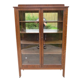 Antique Arts & Crafts Mission Oak Glass Display Case Curio Cabinet For Sale