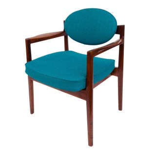 Mid Century Walnut Oval Back Armchair by Jens Risom For Sale