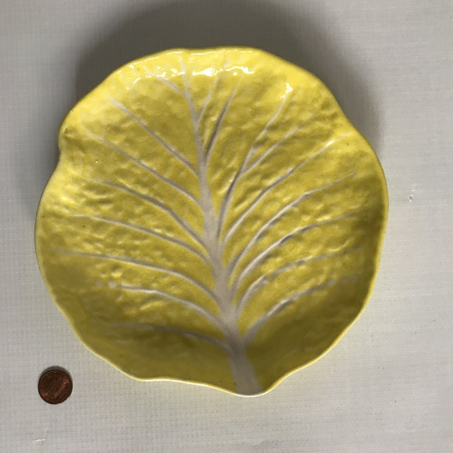 Vintage Yellow Cabbage Leaf Plate For Sale - Image 10 of 11