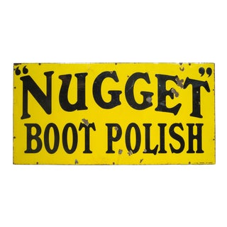Enameled Nugget Boot Polish Sign C.1920-1950 For Sale