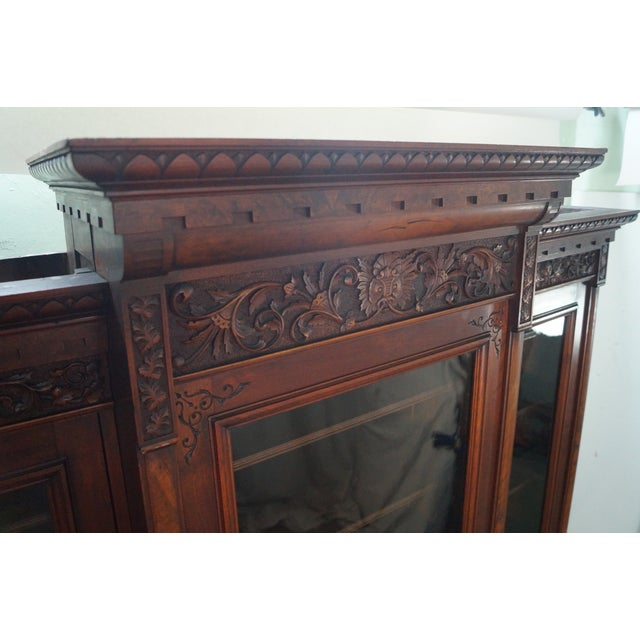 Antique Victorian Walnut Bookcase For Sale - Image 5 of 10