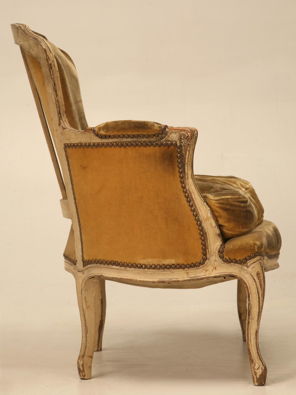 Mohair Antique French Louis XV Style Bergere Chair In Old Paint For Sale    Image 7