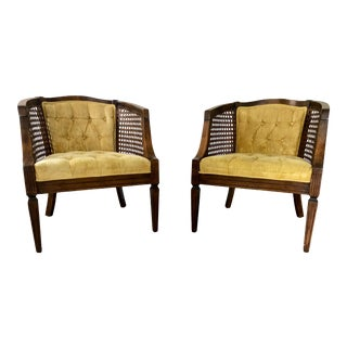 Vintage Cane Walnut Barrel Chairs - a Pair For Sale