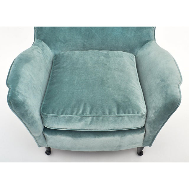 Blue Carlo DI Carli Vintage Velvet Armchairs For Sale - Image 8 of 10