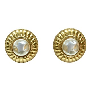 Givenchy Baroque Glass Pearl Chanel Style Earrings For Sale