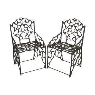 """Antique Cast Iron Faux Bois """"Twig"""" Garden Armchairs For Sale"""