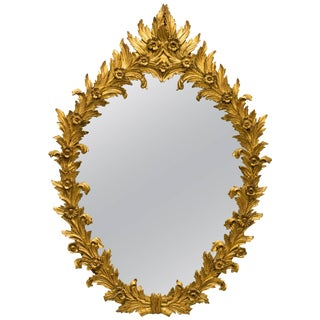 Italian Carved Wood Floral Gilt Mirror For Sale