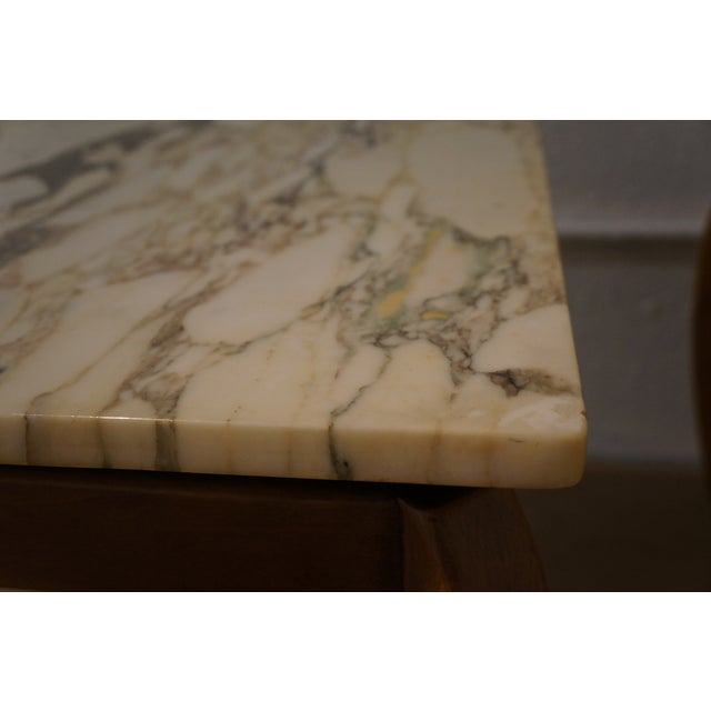 Mid-Century Marble and Walnut Side Tables - A Pair - Image 5 of 10