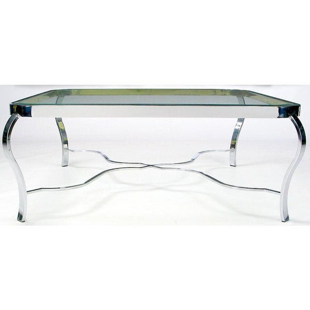 Mid-Century Modern DIA Chrome & Brass Coffee Table For Sale - Image 3 of 6