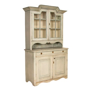 Antique Blue Painted Swedish Cupboard China Cabinet For Sale
