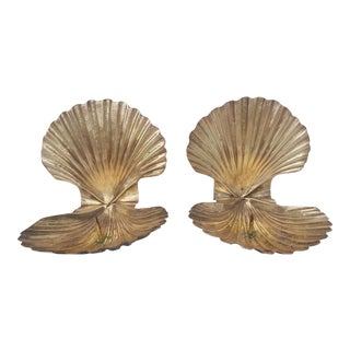 A Pair- Hollywood Regency Brass Clam Shell Candle Wall Sconces