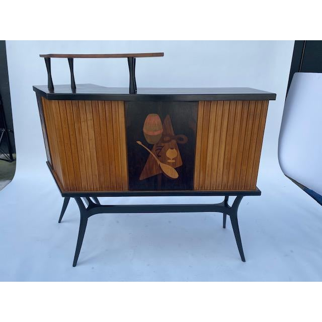 Late 1950's Mid Century Inlaid Bar , Possibly Scandanevia